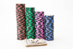 Casino chips with Dollar Royalty Free Stock Images