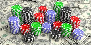 Casino chips on dollars background. 3d illustration Royalty Free Stock Photos