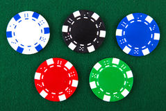 Casino chips each different color Stock Photos