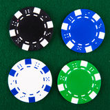 Casino chips each different color Royalty Free Stock Images
