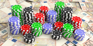Casino chips on 50 euros background. 3d illustration. Casino chips on 50 euros banknotes. 3d illustration Stock Images
