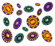 Casino chips floating Stock Image