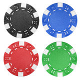 Casino Chips. Four different casino chips isolated on a white background stock photos