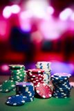 Casino chips on gaming table Royalty Free Stock Photo