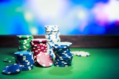 Casino chips on gaming table Royalty Free Stock Photography
