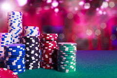 Casino chips on gaming table Stock Image