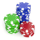 Casino Chips. Gaming chips  on white background. Clipping path included Stock Photos