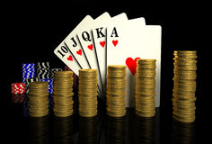 Casino chips,golden coins and cards Royalty Free Stock Images