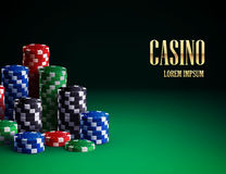 Casino chips  on green background. Illustartion of casino chips  on green background Stock Photo