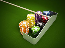Casino chips on green cloth Stock Photos
