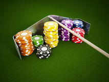 Casino chips on green cloth Royalty Free Stock Images