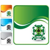 Casino chips on green wave background Stock Images