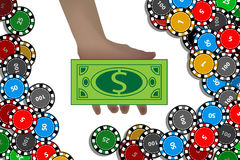 Casino chips hand with dollar. winnings concept. Stock Image