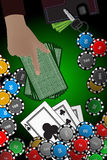 Casino chips hand stack of cards. winnings concept Royalty Free Stock Photo