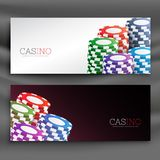 Casino chips header banners set Stock Photography