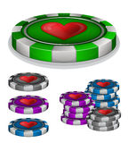 Casino chips with hearts sign Stock Photography