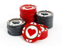 Casino chips with hearts, spades, diamonds and clubs shapes. 3D illustration.  vector illustration