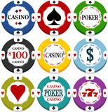 Casino chips. With heats, spades, clubs and diamonds, and other texts vector illustration