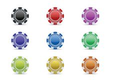 Casino chips icon set. Vector icon set of colorful casino chips Royalty Free Stock Photo