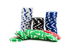 Casino chips isolated Royalty Free Stock Photos