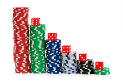 Casino chips isolated Stock Photos