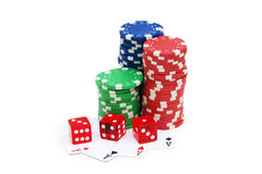 Casino chips isolated Royalty Free Stock Photography