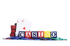 Casino chips on white stock photography