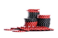 Casino chips isolated on white royalty free stock photos