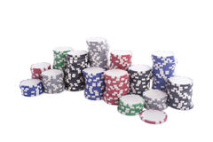 Casino chips. Isolated on a white background stock photography