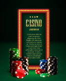 Casino chips lamp vintage banner and cards vector illustration