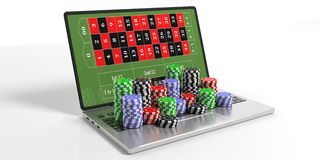 Casino chips and laptop on white background. 3d illustration. Online casino concept. Chips and laptop on white background. 3d illustration Royalty Free Stock Photo