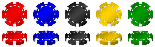 Casino chips in many colors Stock Images