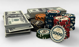 Casino chips and money. Casino chips and us dollars money stock illustration