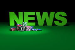 Casino Chips And News Sign Royalty Free Stock Photo