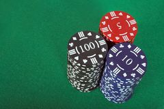 Casino chips over green Royalty Free Stock Images