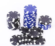 Casino chips over white Royalty Free Stock Photography