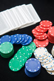 Casino chips for play in card game Stock Photo