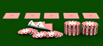 Casino chips and playing cards Stock Images