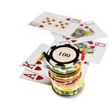 Casino chips and playing cards Royalty Free Stock Photos