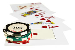 Casino chips and playing cards Royalty Free Stock Image