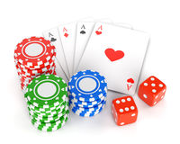 Casino chips, playing cards and dices Royalty Free Stock Image