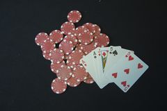 Casino chips and playing cards Stock Photography