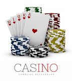 Casino Chips and Poker Card, Casino concept, 3d Illustration of Casino Games Elements isolated white Stock Image