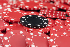 Casino chips, red and black Royalty Free Stock Photos