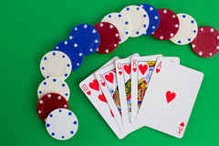 Casino Chips and Royal Flush Stock Photos