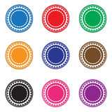 Casino chips. Set of different color casino chips illustration. An additional Vector .Eps file available. (you can use elements separately royalty free illustration