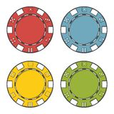 Casino chips set isolated on a white background. Color line art. Modern design Stock Photography