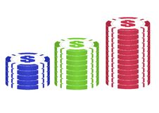 Casino chips set ( red, green,blue). Royalty Free Stock Image