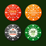 Casino Chips Sign Set. Vector Stock Photo