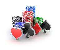 Casino chips with signs in piles  on white. Stock Photography